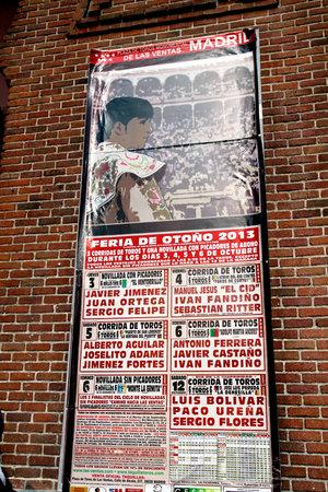torero: MADRID,SPAIN - OCTOBER 05, 2013: bullfight poster on the wall of the bullring