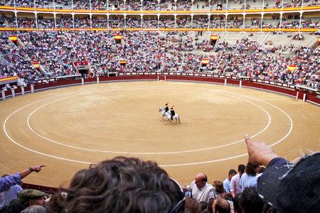 plaza de toros: MADRID, SPAIN - OCTOBER 05, 2013: Start of parade participants bullfighting in arena Plaza de Toros de Las Ventas