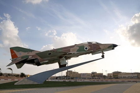 phantom: BEER SHEVA, ISRAEL - MARCH 23, 2013: All-weather multi-role fighter of the Air Force of Israel, F-4 Phantom on a pedestal in front of the College of the Air Force of Israel in Beer Sheva