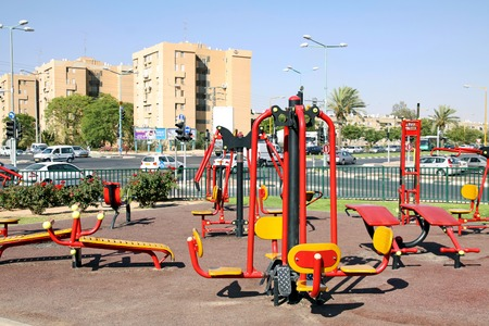 simulator: BEER SHEVA, ISRAEL - JULY  29, 2011: City simulator platform for maintaining a healthy lifestyle among residents