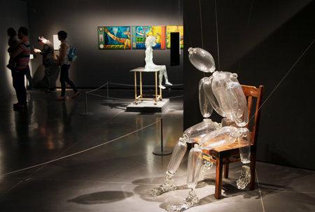 aviv: TEL AVIV, ISRAEL - APRIL 25, 2015: Exhibition The Israeli Glass 2015 in the Eretz Israel Museum, Tel Aviv
