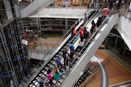 azrieli: TEL AVIV, ISRAEL - MAY 10, 2015: Escalator in a big mall Azrieli in Tel Aviv