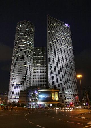 azrieli: TEL AVIV, ISRAEL - MAY 10, 2015: Azrieli skyscrapers in Tel Aviv in evening