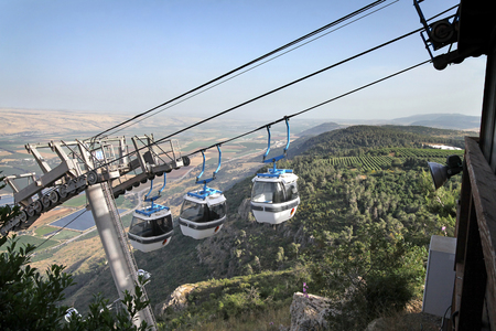 golan: Cableway in the Golan Heights to the Manara cliff in the Hula Valley, Israel Stock Photo