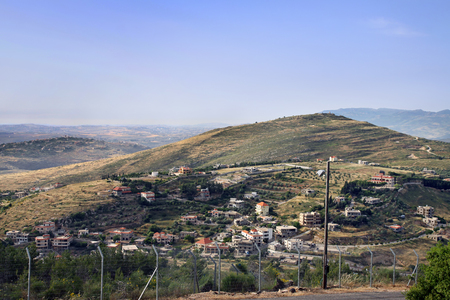 kibbutz: State border between Israel and Lebanon. View from Kibbutz Misgav Am. View from Kibbutz Misgav Am Stock Photo