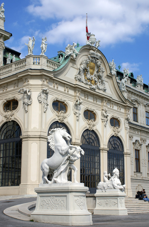 eugene: VIENNA, AUSTRIA - SEPTEMBER 20, 2007: Main entrance to Belvedere  palace of Prince Eugene of Savoy in Vienna