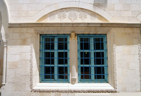 stone carvings: Window decorated with stone carvings in Abuhav Synagogue in Safed Stock Photo