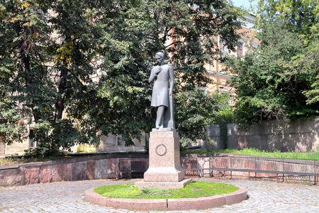 mikhail: PENZA, RUSSIA - AUGUST 16, 2012: Monument to Russian poet Mikhail Lermontov in Penza, established in 1882