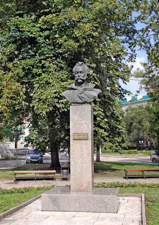 hussar: PENZA, RUSSIA - AUGUST 19, 2012: Monument Denis Davydov - the hero of the War of 1812 between Russia and France