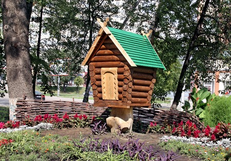 city pushkin: Fabulous little hut in Pushkin Street in Penza Stock Photo