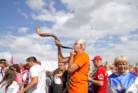 JERUSALEM, ISRAEL - OCTOBER 14, 2014: Participants of the procession of evangelical Christians to support Israel in Jerusalem