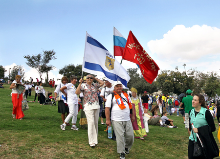participants: JERUSALEM, ISRAEL - OCTOBER 14, 2014: Participants of the procession of evangelical Christians to support Israel in Jerusalem