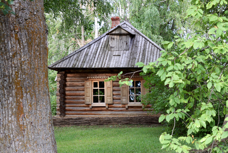 peasant: TARKHANY, RUSSIA - AUGUST 19, 2012: Old peasant house in the estate family Lermontov Tarkhany