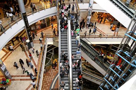 azrieli: TEL AVIV, ISRAEL - MARCH 21, 2011: Escalators at the shopping center Azrieli Editorial