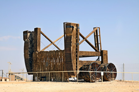 masada: MASADA, ISRAEL - FEBRUARY 12, 2011: Ancient wooden assault vehicle at the foot of Masada