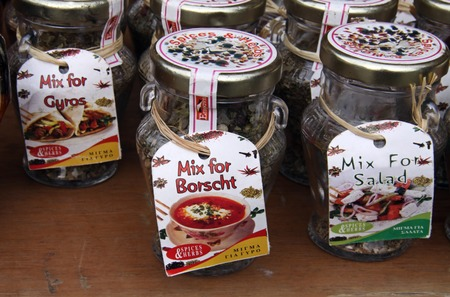 seasonings: RHODES, GREECE - NOVEMBER 12,  2010: Jars with Seasonings on the counter Editorial