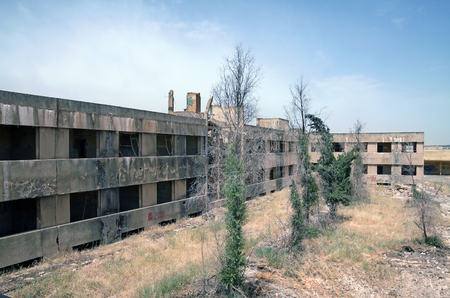syrian war: Abandoned city of Quneitra. This building was the headquarters of Syrian ground forces before the Yom Kippur War