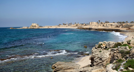 crusaders: CAESAREA, ISRAEL - FEBRUAR 28, 2016: Panorama National Archaeological Park Caesarea. Ancient Caesarea Maritima city and harbor was built by Herod the Great about 2513 BC Editorial