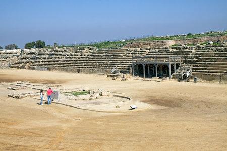caesarea: CAESAREA, ISRAEL - FEBRUAR 28, 2016: Ancient Hippodrome in the National Archaeological Park Caesarea