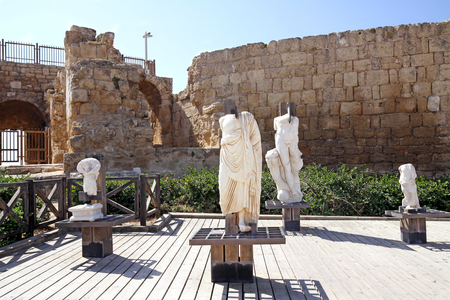 fragments: CAESAREA, ISRAEL - FEBRUAR 28, 2016:  Fragments of marble sculptures  in Caesarea in the National Archaeological Park Caesarea