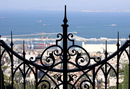 bahai: HAIFA, ISRAEL - MARCH 01, 2016: Gates upper terrace Bahai Gardens  on Mount Carmel