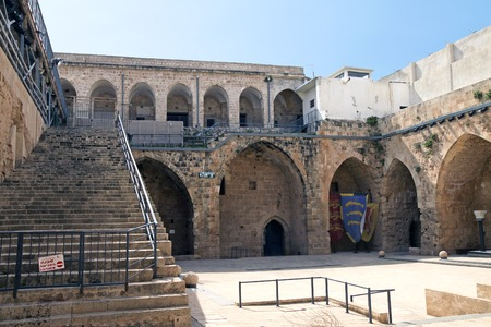 crusaders: ACRE, ISRAEL - MARCH 02, 2016: The courtyard in the city of the Crusaders in Acre