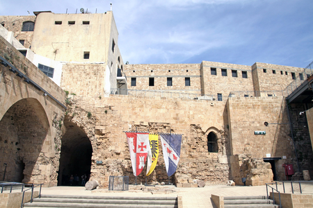 acre: ACRE, ISRAEL - MARCH 02, 2016: The courtyard in the city of the Crusaders in Acre