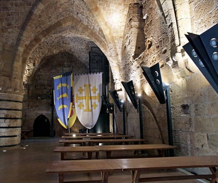 crusaders: ACRE, ISRAEL - MARCH 02, 2016: Dining room in the Crusader city of Akko