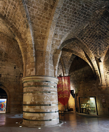crusaders: ACRE, ISRAEL - MARCH 02, 2016: Interior of Knights Hall in the city of the Crusaders Editorial