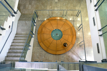 faculty: BEER SHEBA , ISRAEL - MAY 04, 2016: Pendulum Foucault is suspended in the building of the Faculty of Physics, University of Ben Gurion Editorial
