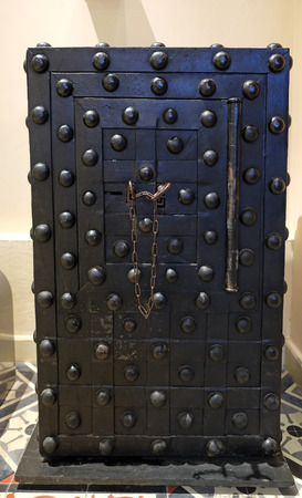 nostalgia: TEL AVIV, ISRAEL - APRIL 27, 2016:  Ancient safe with two keys in the Museum Of Banking And Tel Aviv Nostalgia