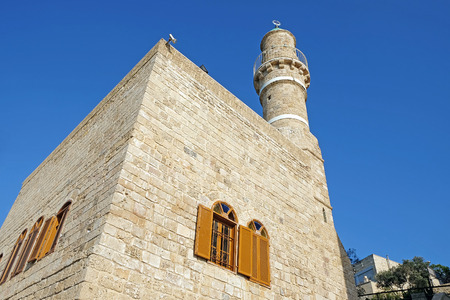 minaret: Mosque and the minaret of Jama al-Bahr or Sea Mosque in Jaffa, Israel