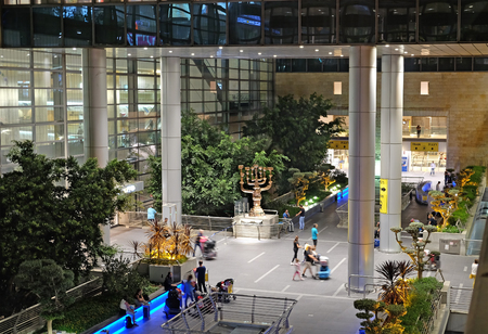 arrivals: BEN GURION, ISRAEL - AUGUST 23, 2016: Menorah Salvador Dali authorship at Ben Gurion airport arrivals area
