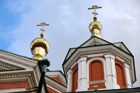 gilded: Gilded domes and crosses over church in town Kolomna