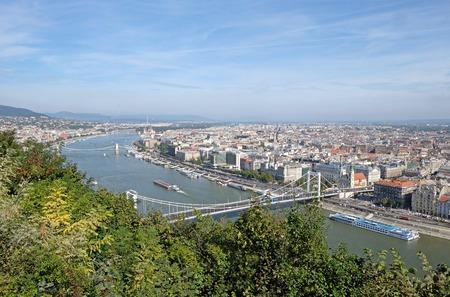View from Gellert Hill of Elisabeth Bridge across the River Danube in Budapest Stock Photo