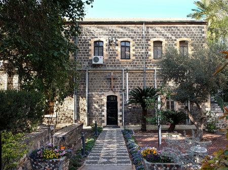 TIBERIAS, ISRAEL - FEBRUARY 26, 2017: Facade of the Scottish Church of St. Andrew in Tiberias