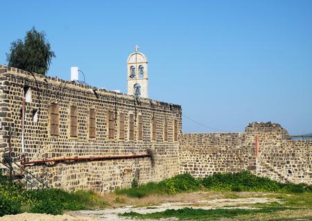 Wall and Belfry of the Greek Orthodox Monastery in honor of the Twelve Apostles, Tiberias Stock Photo