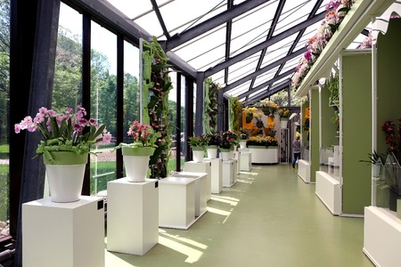 KEUKENHOF, HOLLAND - MAY 14, 2017: Pavilion of the Princess of the Netherlands Beatrix in the Royal Keukenhof Park Editorial