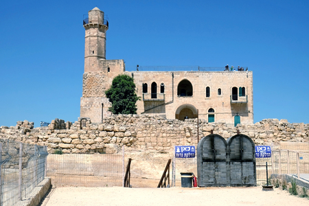 NABI SHMUEL, ISRAEL - JUNE 25, 2017:  Tomb of the biblical prophet Samuel near Jerusalem. Inscription: a place for lighting candles