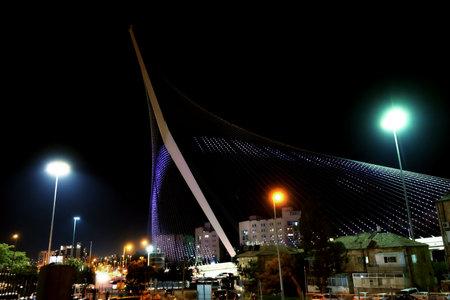JERUSALEM, ISRAEL - JUNE 25, 2017: String bridge of the architect Santiago Calatrava in Jerusalem