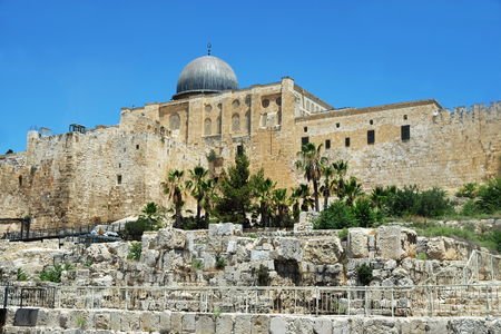Al Aqsa Mosque  on the Temple Mount in the Old City of Jerusalem Editorial