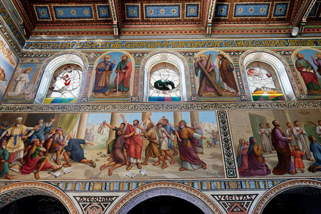 BEIT JAMAL, ISRAEL - JULY 22, 2017: Internal painting of the church of Stephen the First Martyr in the monastery Beit Jamal Editorial