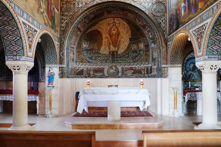 BEIT JAMAL, ISRAEL - JULY 22, 2017:  Interior of the church of St. Stephen the First Martyr in the monastery Beit Jamal Editorial