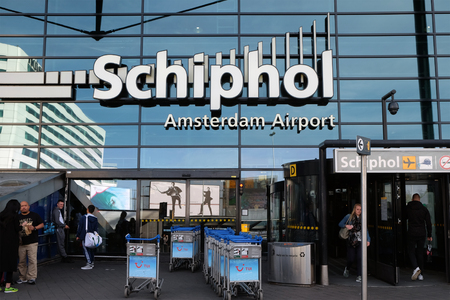 SCHIPHOL, HOLLAND - MAY 17, 2017: Entrance for passengers to the Amsterdam Airport Schiphol Editorial