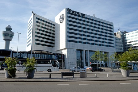 SCHIPHOL, HOLLAND - MAY 17, 2017: Sheraton Hotel in Amsterdam Schiphol Airport Editorial