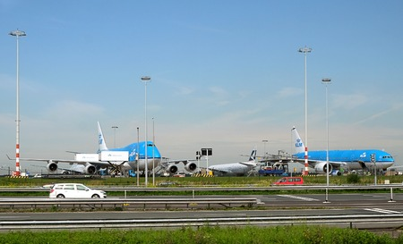 SCHIPHOL, HOLLAND - MAY 17, 2017: Royal Dutch Airlines planes parked at the Amsterdam Schiphol airport