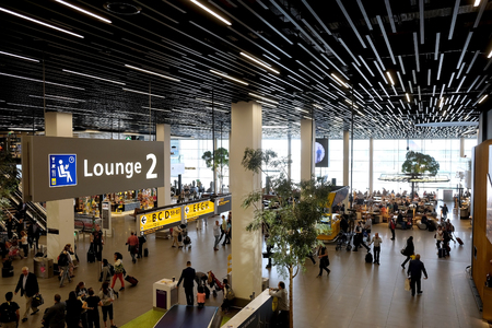 SCHIPHOL, HOLLAND - MAY 17, 2017: Reception area at  the Amsterdam Schiphol airport