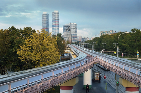 MOSCOW, RUSSIA - OCTOBER 12, 2017: Experimental monorail road on supports in Moscow