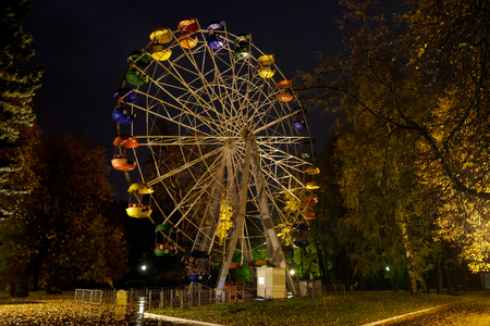 PENZA, RUSSIA - OCTOBER 15, 2017: Ferris wheel at night in the city park of Penza