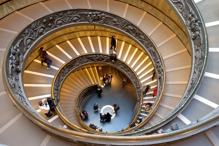 VATICAN,  VATICAN - DECEMBER 29, 2017: Spiral staircase, created in 1932 by Giuseppe Momo in the Vatican Museums